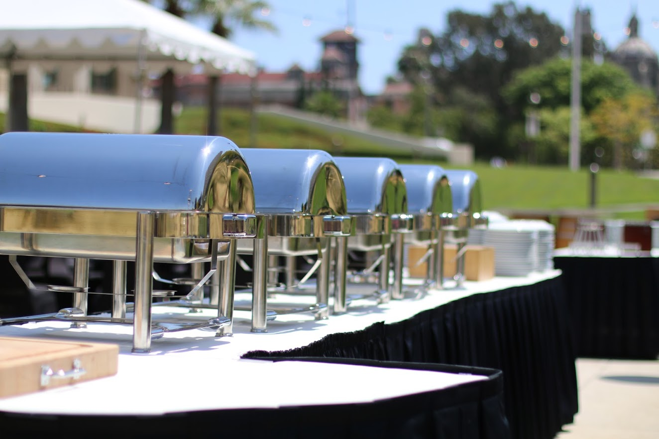 Catered dishes line table