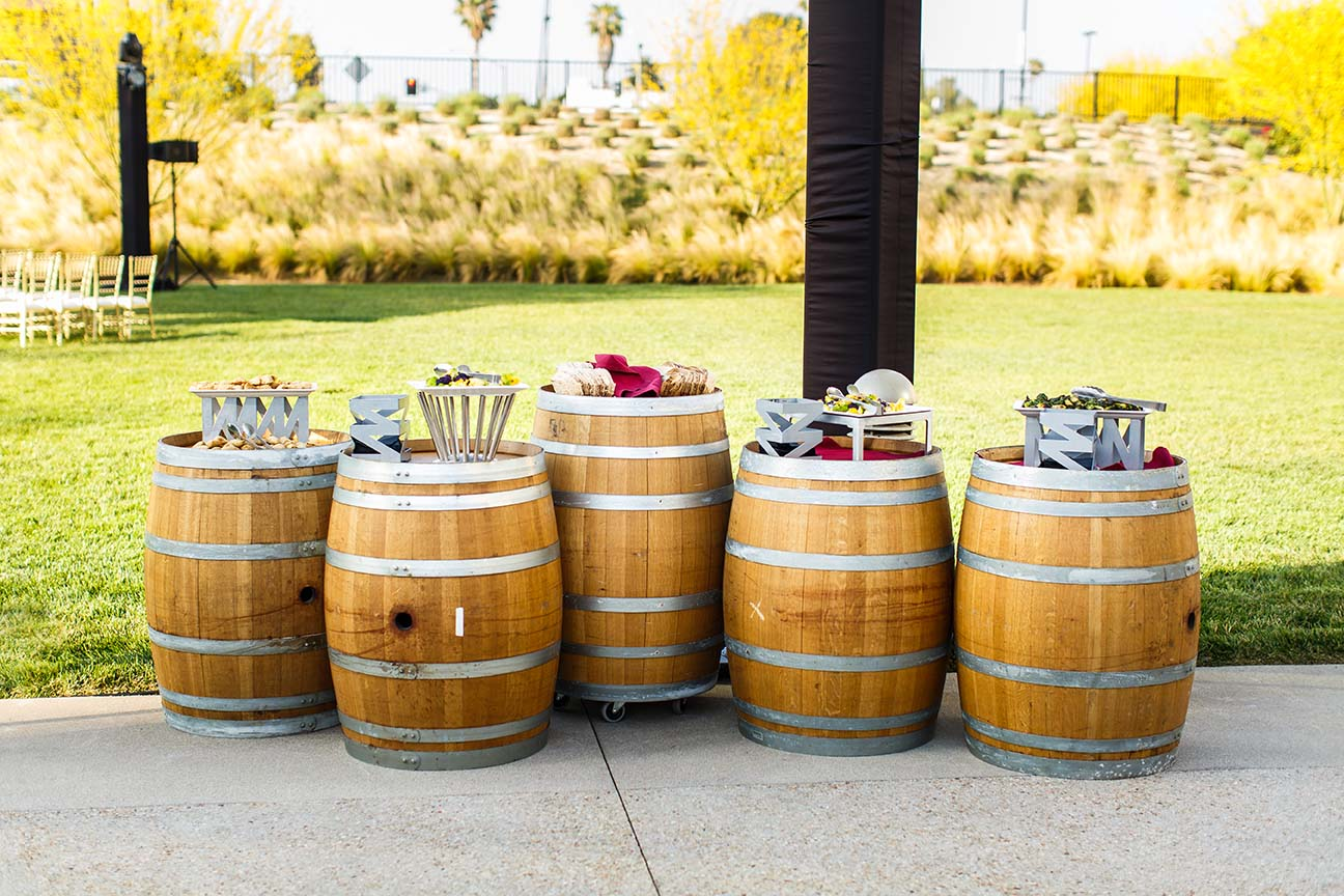 Barrels topped with appetizers
