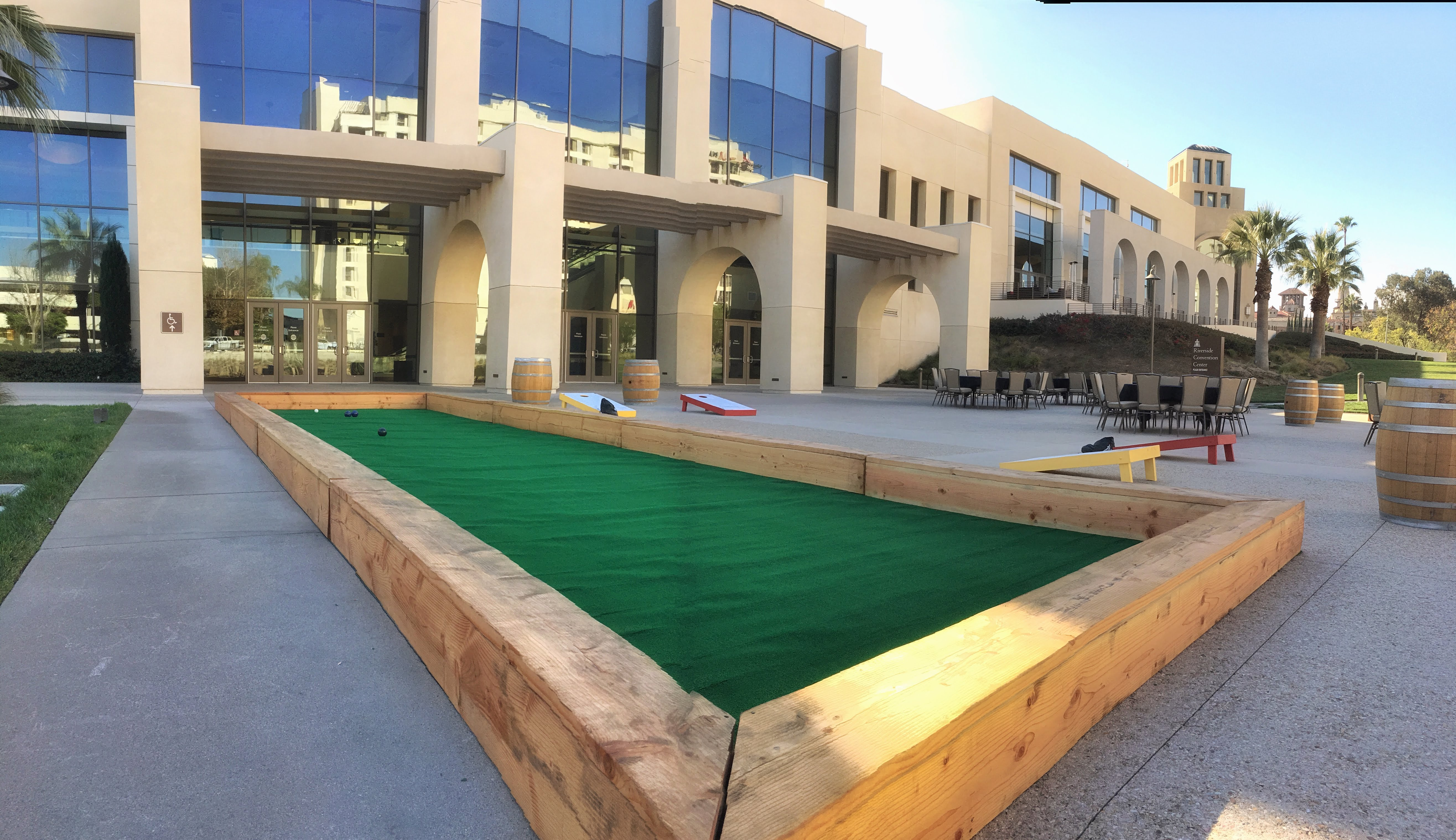 Outdoor games set up for guests' entertainment