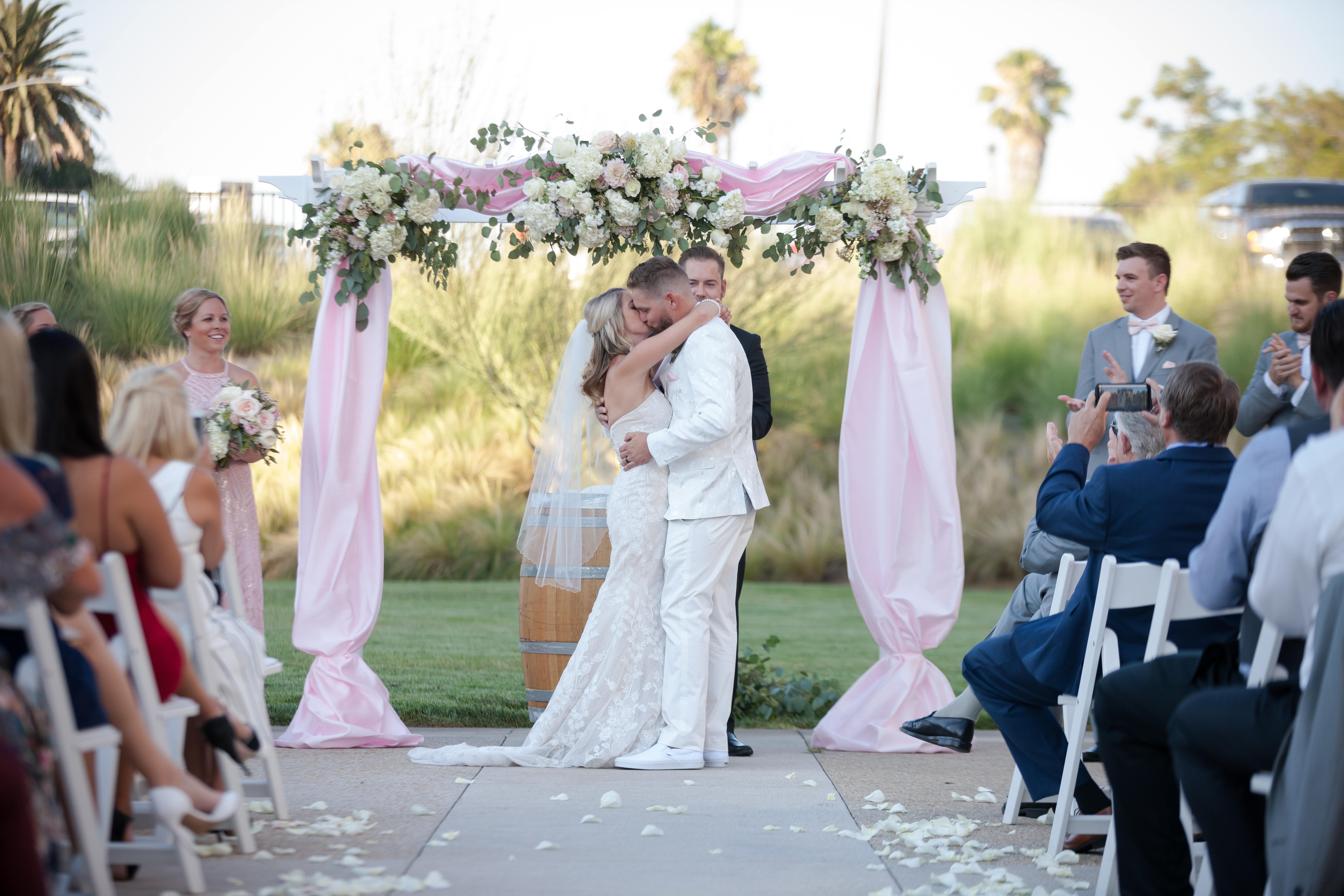Bride and Groom share first kiss after their vows