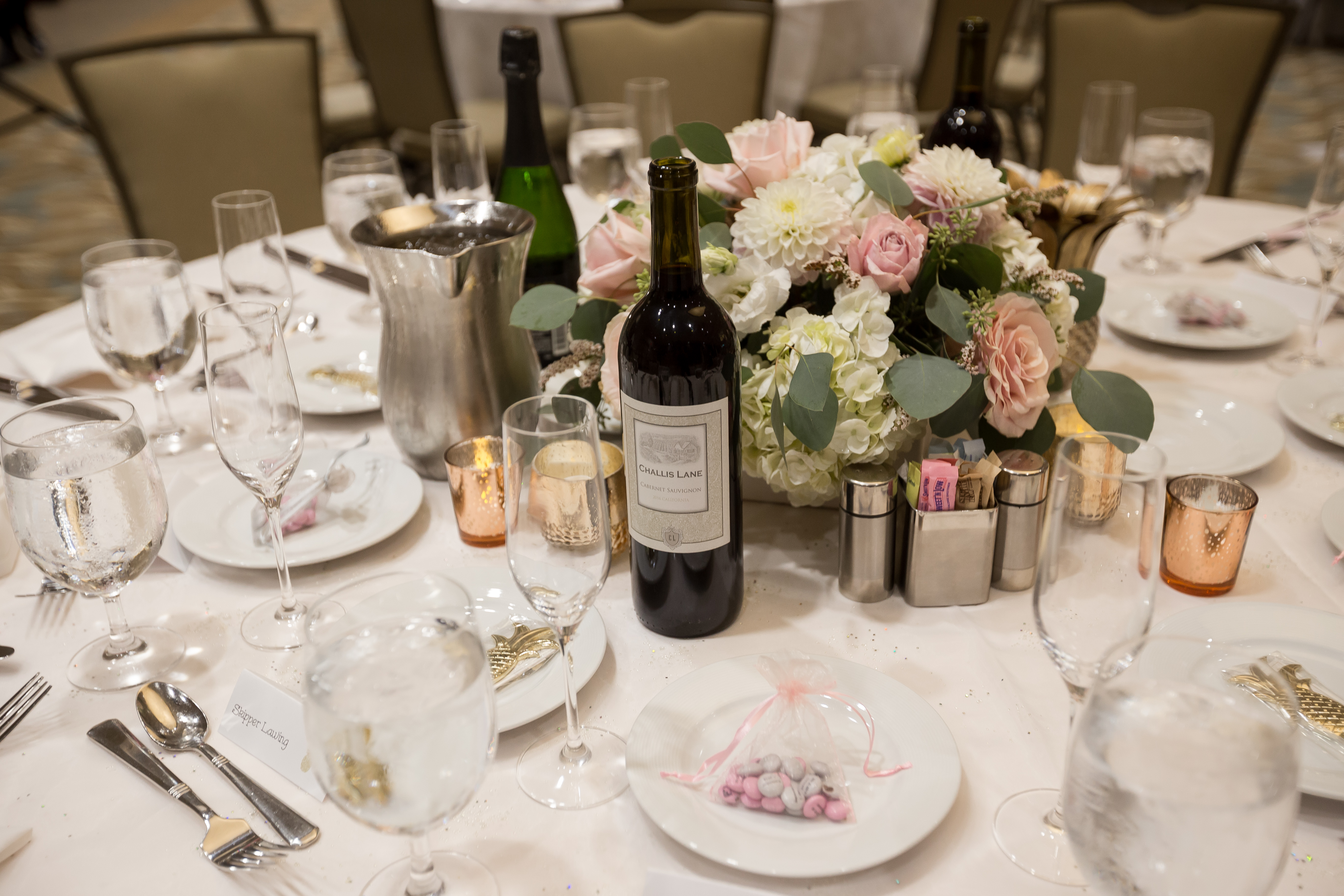 Table decorated for wedding reception