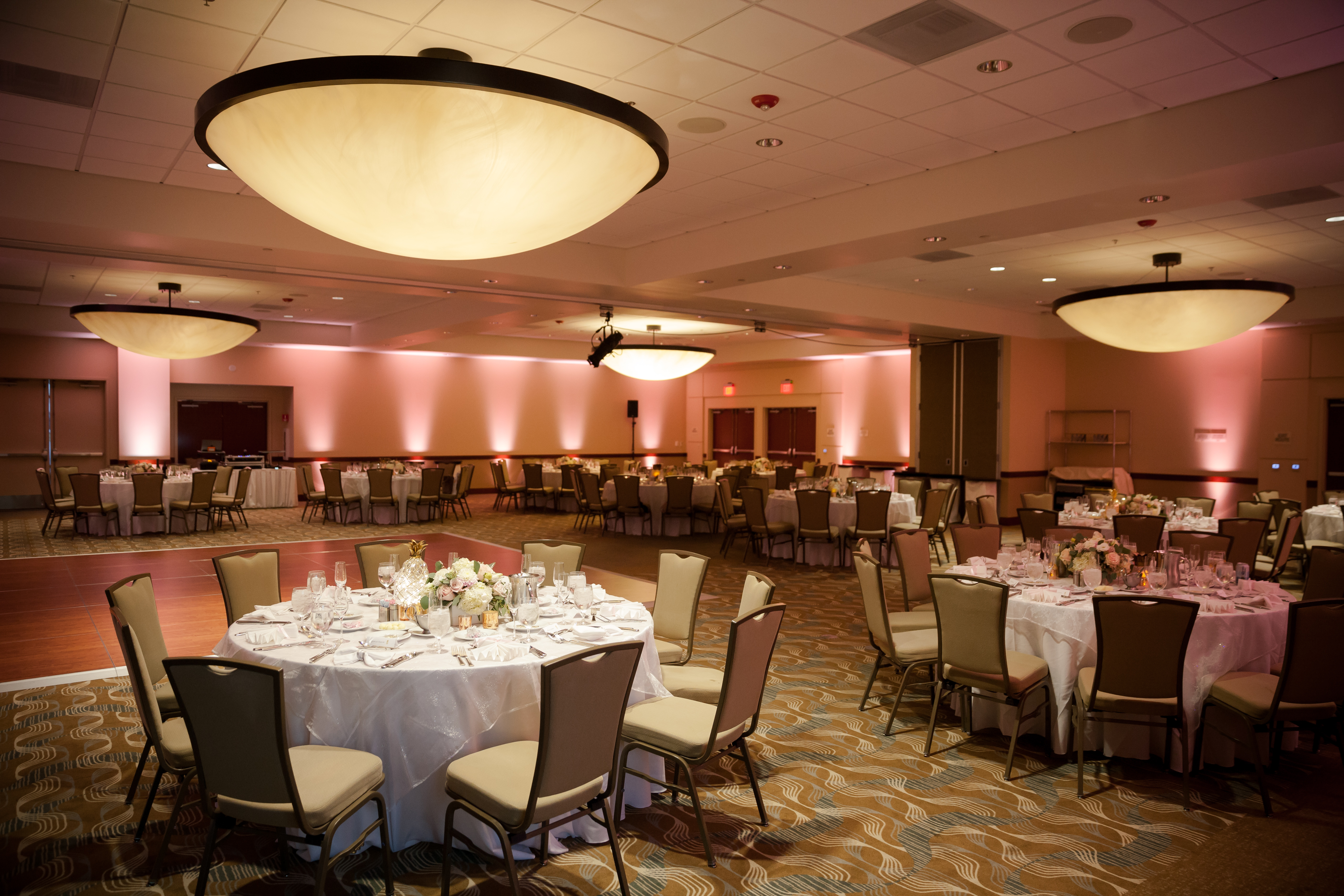 Meeting hall decorated for a wedding reception