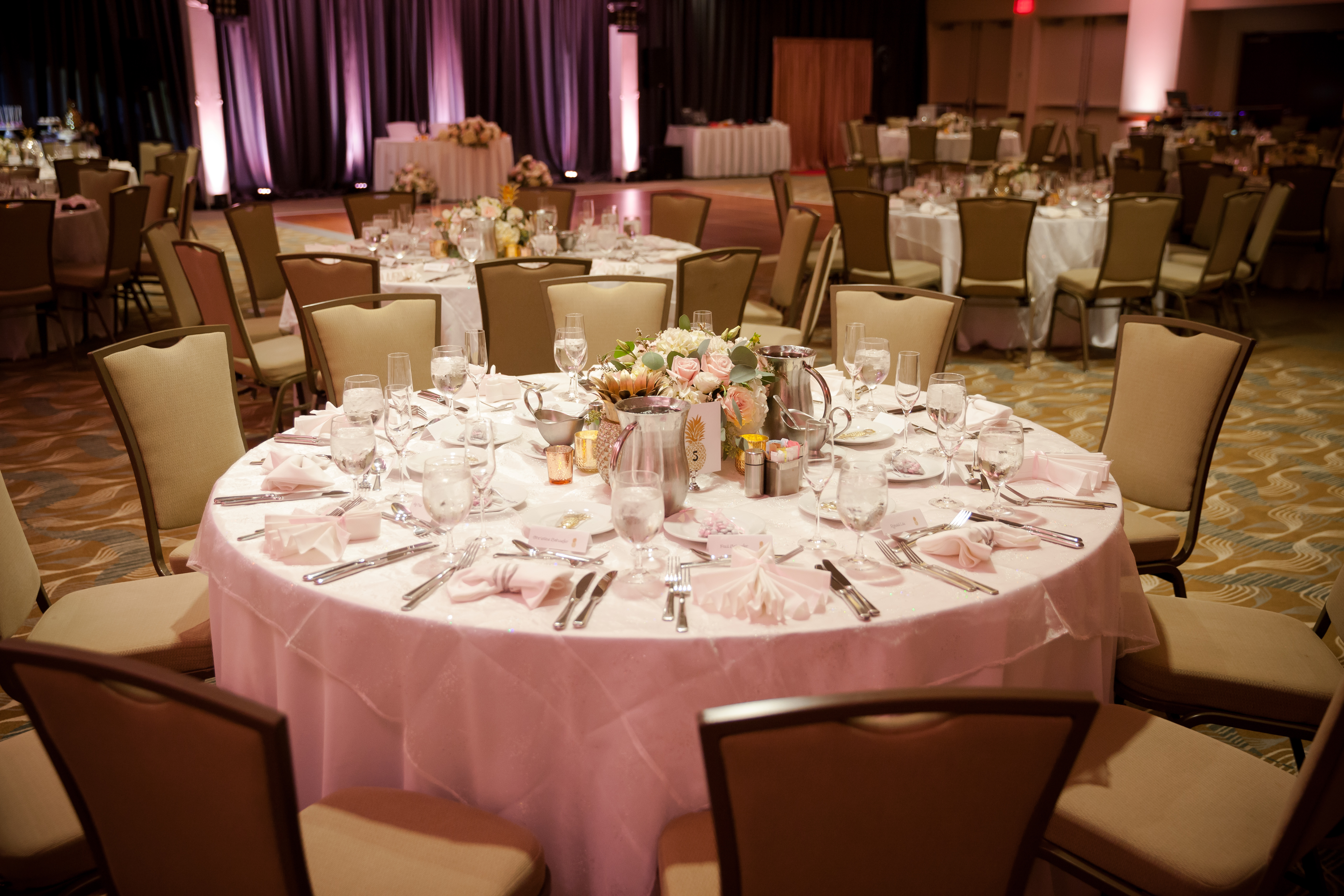 Table set beautifully for wedding reception