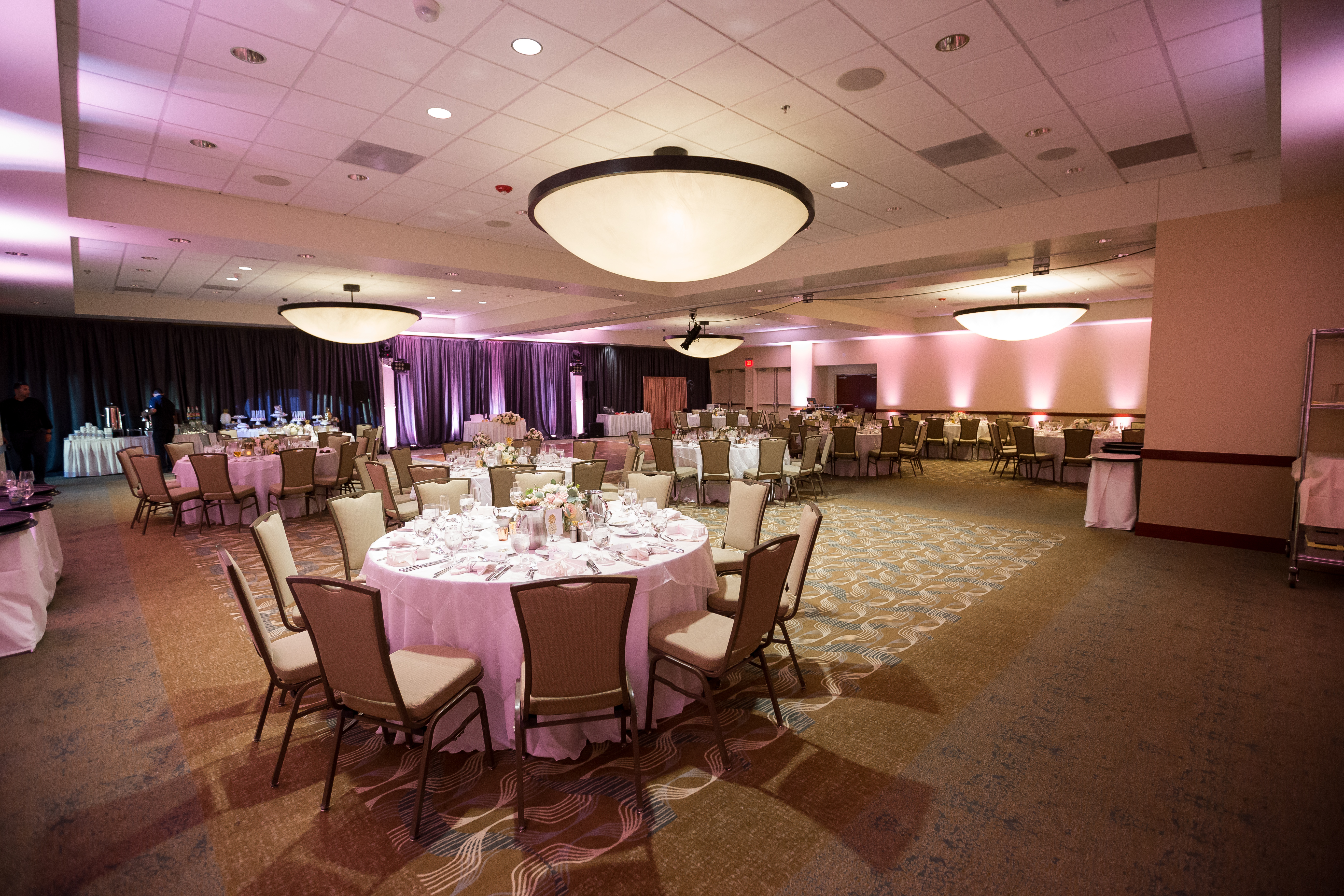 Meeting hall decorated for wedding reception