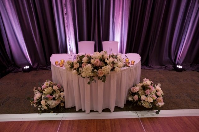 Head table for the bride and groom