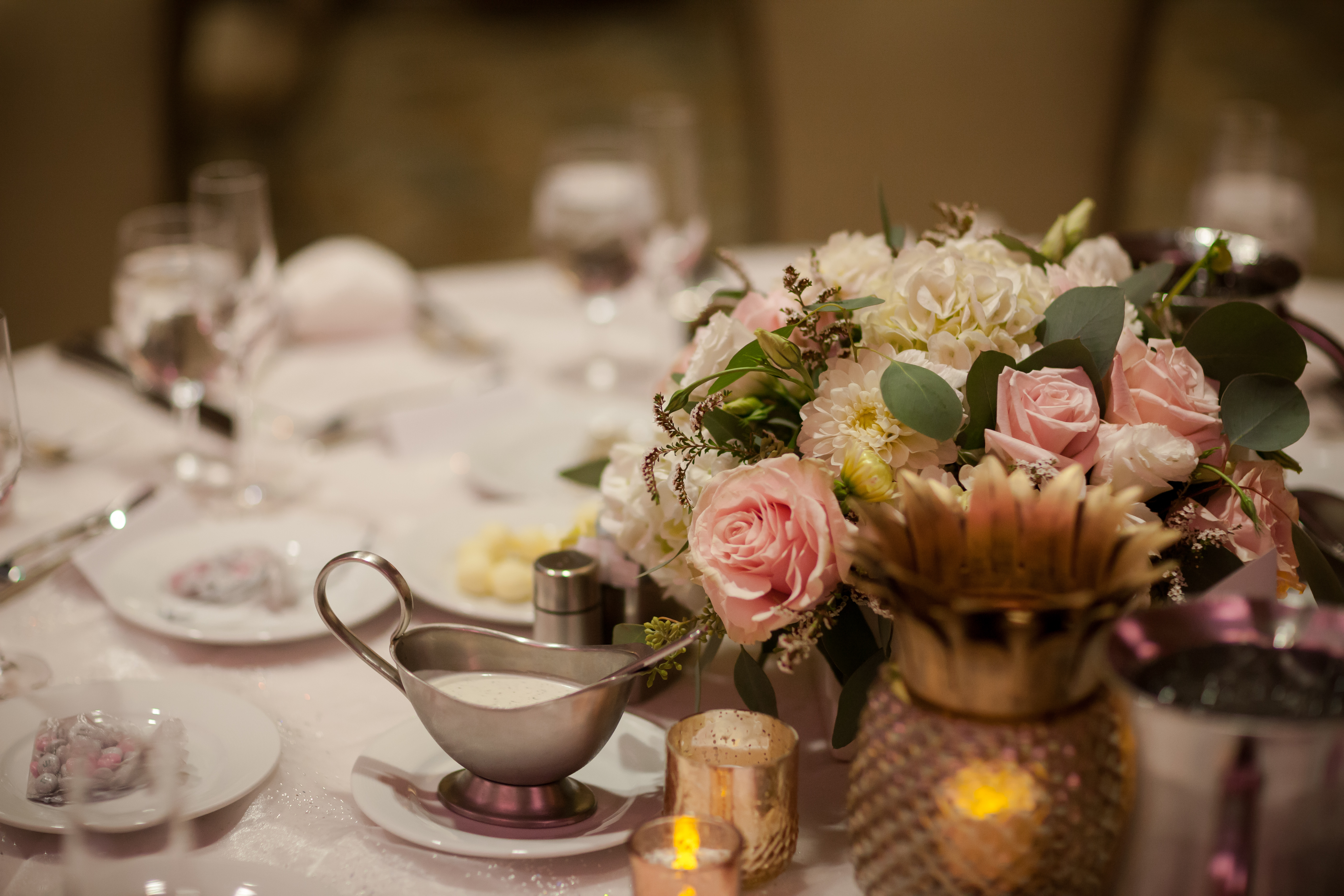Table setup for a wedding reception