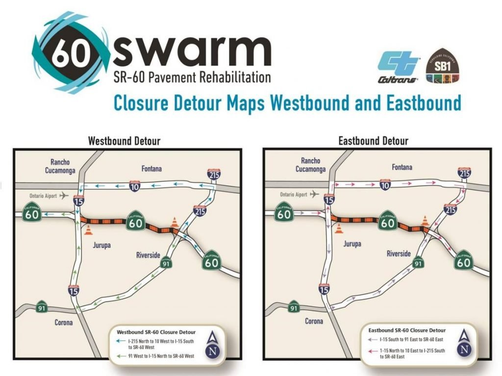 Detour maps for the SR-60 closure
