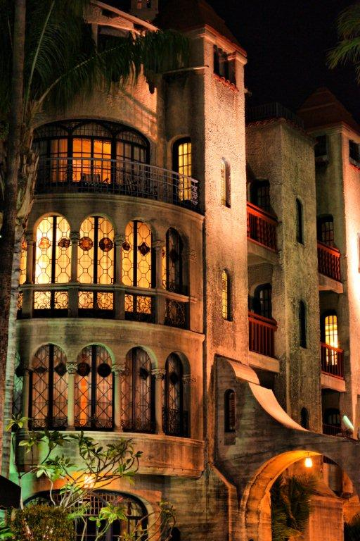 Mission Inn Quest rooms at night