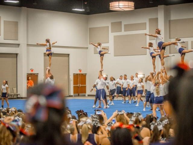 Cheer leads show off their skills at the TSC Cheer Camp at the Riverside Convention Center