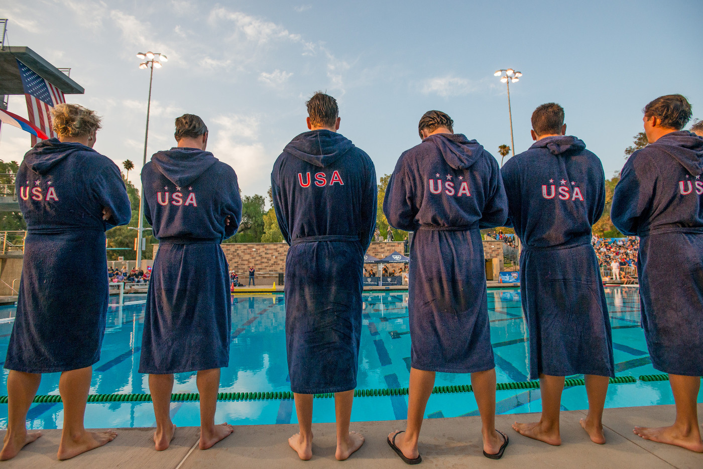 USA teammates line up at Riverside Aquatics Complex