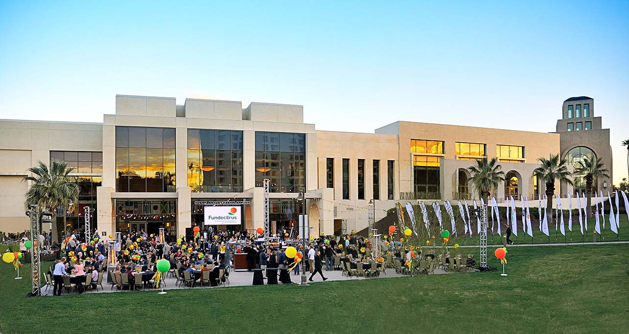 Function held outside the Riverside Convention Center at dusk