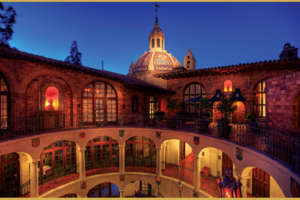 View of the Mission Inn rotunda at dusk