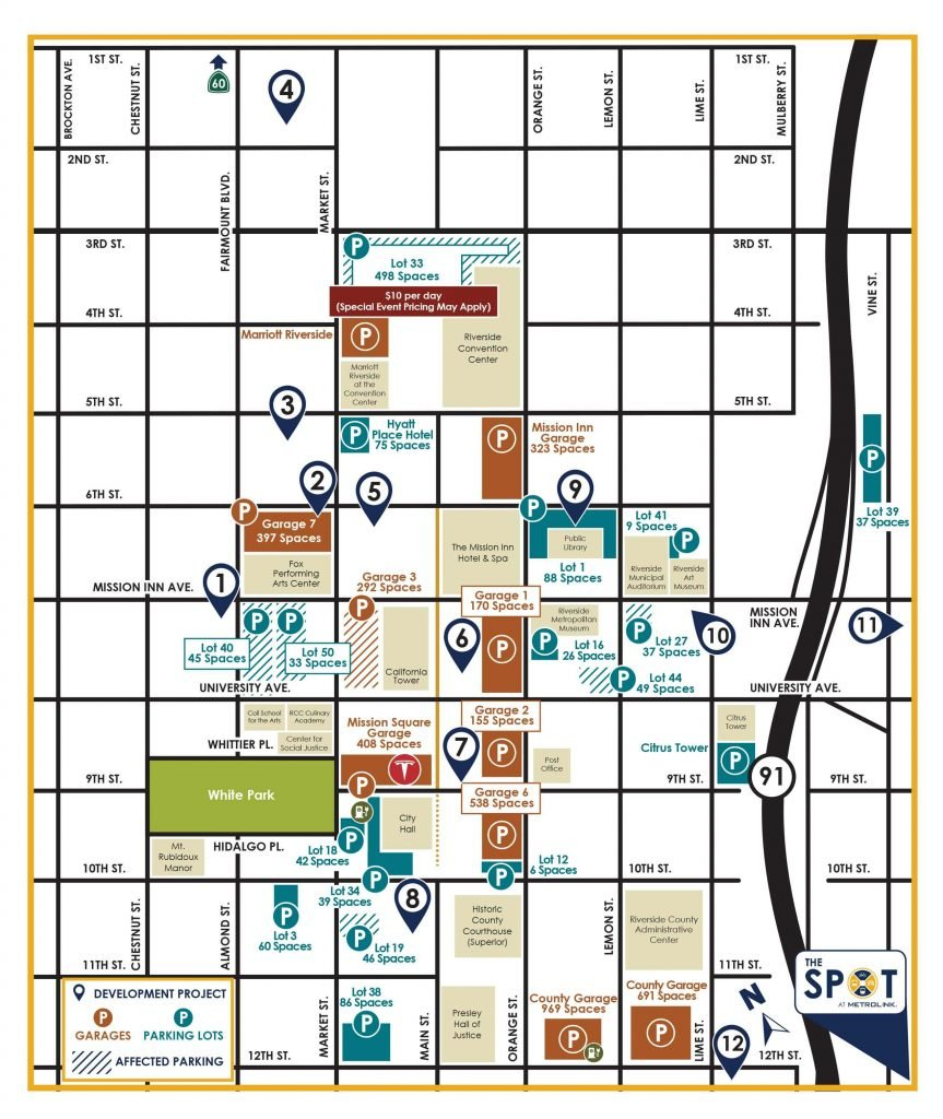Map of public parking spaces in downtown Riverside.