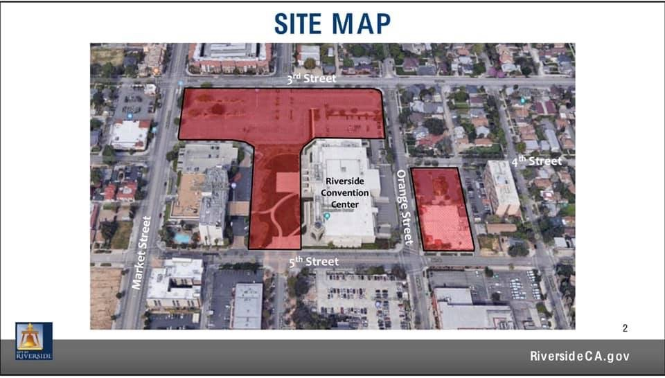 Map showing the expansion plans for the Riverside Convention Center